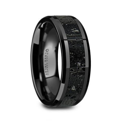 Thorsten VESUVIUS Mens Polished Black Ceramic Wedding Band Black Gray Lava Rock Stone Inlay Polished Beveled Edges