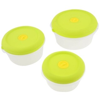 Unique Bargains Microwave Oven Yellowgreen Case Clear Airtight Round Shape Kitchen Ware Set 3pcs