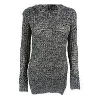 Ultra Flirt Juniors' V-Neck Marled Hooded Tunic Sweater