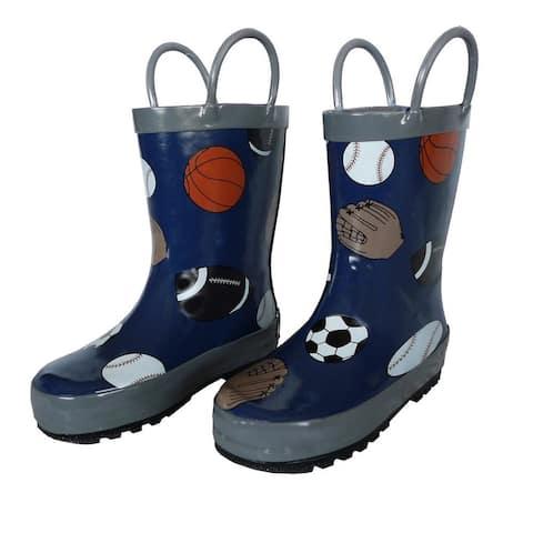 Navy Sports Balls Boys Rain Boots 11-3