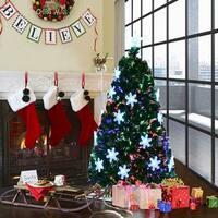 Costway 5' Pre-Lit Fiber Optic Artificial Christmas Tree w/Multi-Color Lights Snowflakes
