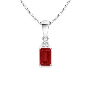 Angara Prong Set Emerald Cut Ruby Pendant with Diamond