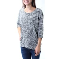 Womens Gray Printed 3/4 Sleeve Crew Neck Trapeze Top  Size  XS