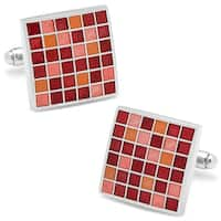 Red Mosaic Checker Board Cufflinks