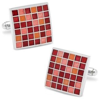 Red Mosaic Checker Board Cufflinks