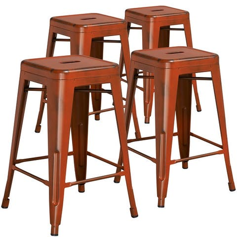 Backless Distressed Indoor/Outdoor Counter Height Stool (Set of 4)