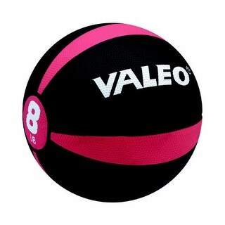 Valeo 8-Pound Medicine Ball With Sturdy Rubber Construction And Textured Finish, Weight Ball Includes Exercise Wall Char