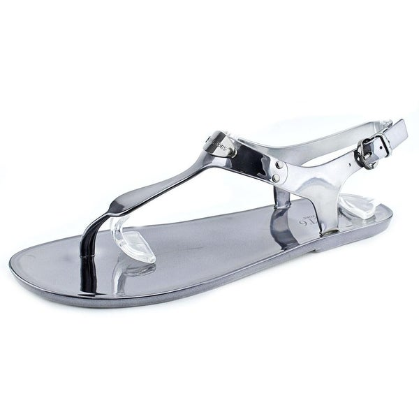 Michael Michael Kors Logo Plate Jelly Women Open Toe Synthetic Gray Thong Sandal