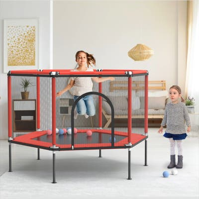 Hexagon Kids Backyard Trampoline with Trampoline with Safety Enclosure
