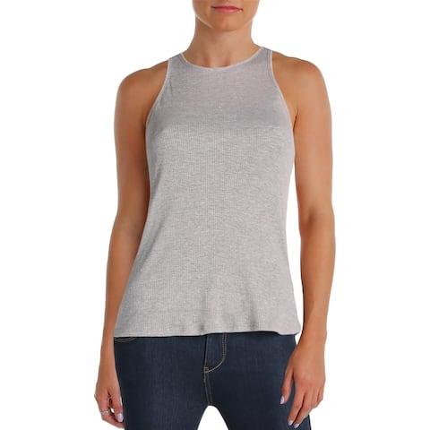 Aqua Womens Tank Top Ribbed Knit Heathered