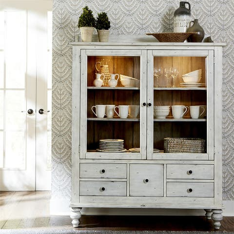 Whitney Antique Linen with Weathered Grey Display Cabinet