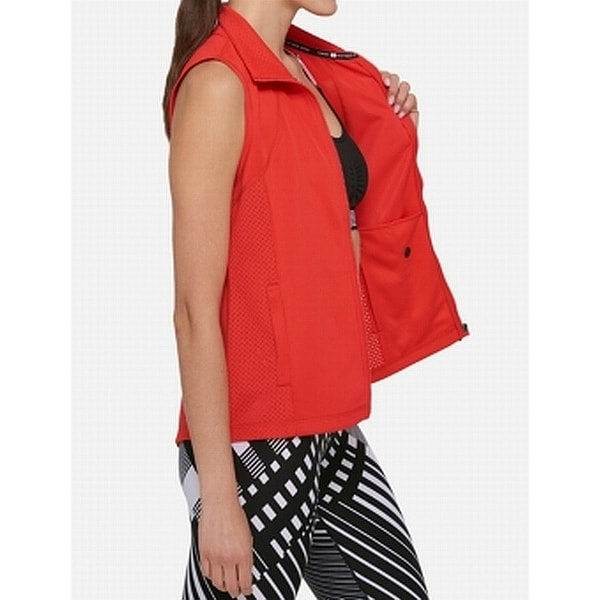 Tommy Hilfiger Scarlet Womens Perforated Zip Front Vest