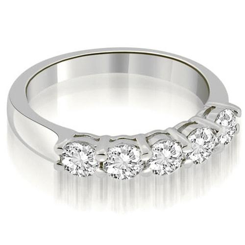 0.75 cttw. 14K White Gold Classic Round Cut Diamond Wedding Band