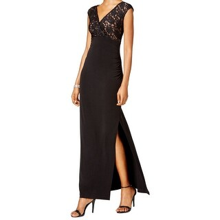 Connected Apparel NEW Black Womens Size 12 V-Neck Sequin Lace Maxi Dress