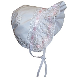 NICE CAPS Baby Girls Lacy Bonnet With Flowers Embroidery - White/Pink