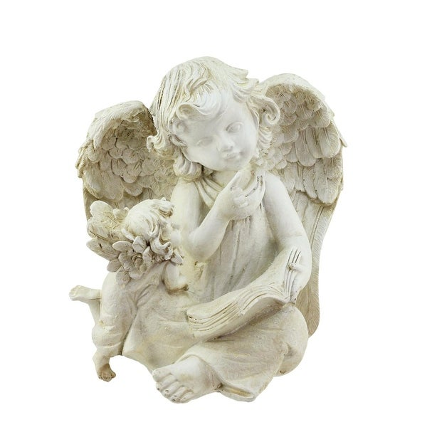 """8.5"""" Heavenly Gardens Distressed Ivory Sitting Angel with Book & Friend Outdoor Patio Garden Statue"""