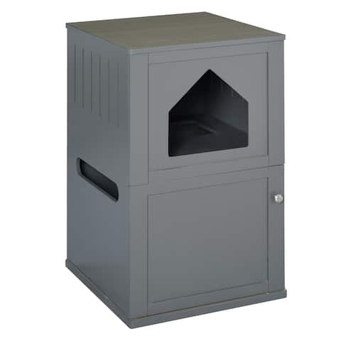 PawHut Double-Decker Cat Luxury Lower Level Litter Box and Upper Level House, Grey