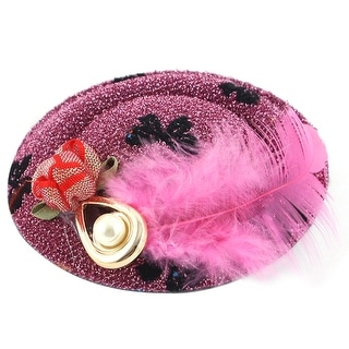 Unique Bargains Pink Feather Faux Pearl Black Butterfly Decor Top Hat Lady Hair Clip
