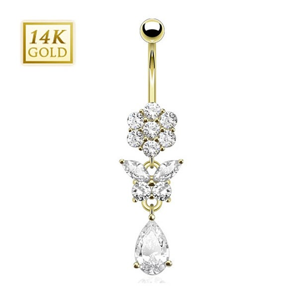 14 Karat Solid Yellow Gold Pear Cut CZ Dangle with Gemmed Flower and Butterfly Navel Belly Button Ring
