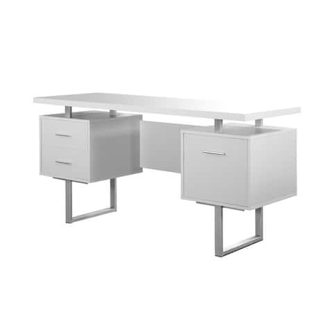 """Offex Contemporary Computer Desk 60""""L - White Silver Metal"""