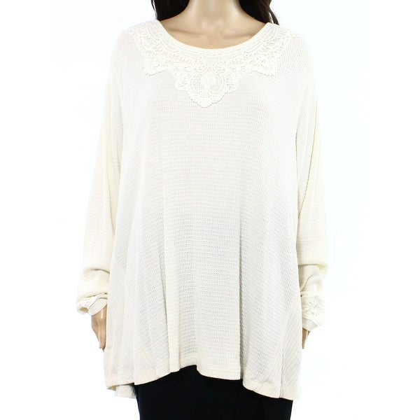 1e77106964634 Shop Style   Co. NEW White Ivory Lace-Trim Women s Size 1X Plus Knit Top -  Free Shipping On Orders Over  45 - Overstock.com - 18360572