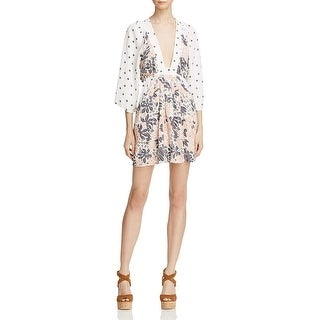 Free People Womens Talulla Tunic Dress Floral Plunge Neck - s