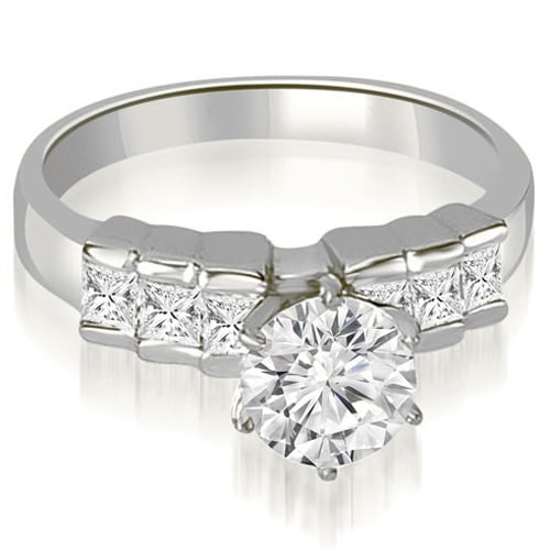 1.10 cttw. 14K White Gold Princess Cut Diamond Engagement Ring