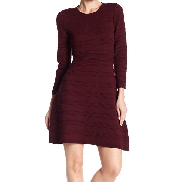 Shop Eliza J Burgundy Women Textured Fit Flare Sweater Dress Free