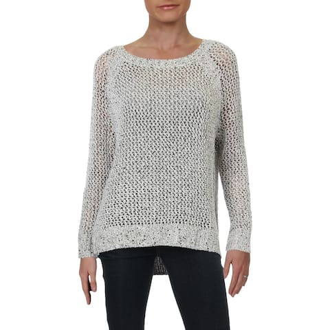 Willow & Clay Womens Pullover Sweater Metallic Ribbed Trim - Ivory - S