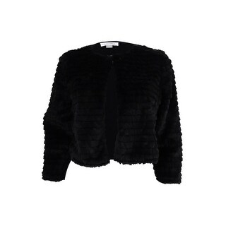 Calvin Klein Women's Petite Faux-Fur Cardigan (PM, Black) - Black - pm