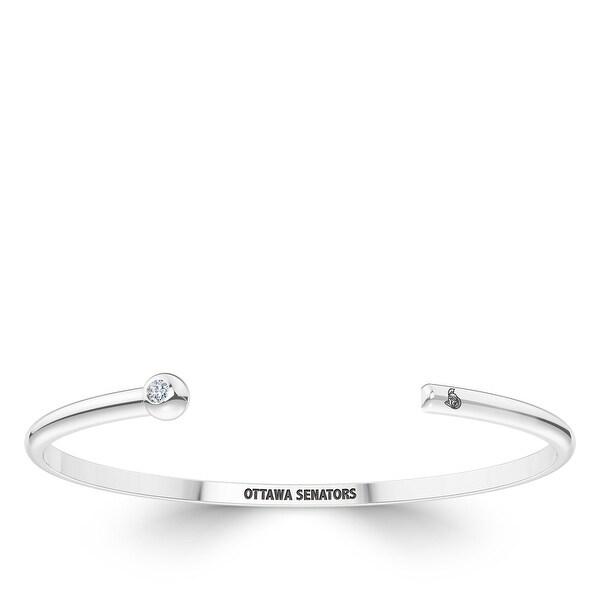 Ottawa Senators Engraved Sterling Silver Diamond Cuff Bracelet. Opens flyout.