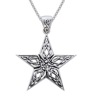 Sterling Silver Celtic Knot Work Star Necklace