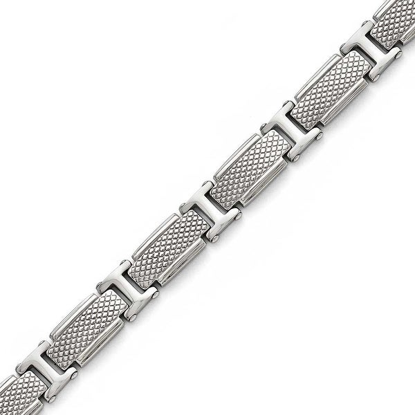 Chisel Stainless Steel Polished and Textured Bracelet