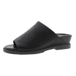 OTBT Womens Drifter Leather Embossed Wedge Sandals - 6 medium (b,m)