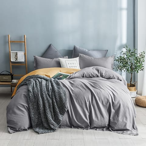Beaute Living Garment Washed Cotton Duvet Cover Set