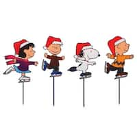 Set of 4 Pre-Lit Snoopy and Peanuts Ice Skating Christmas Pathway Markers - Clear Lights - RED