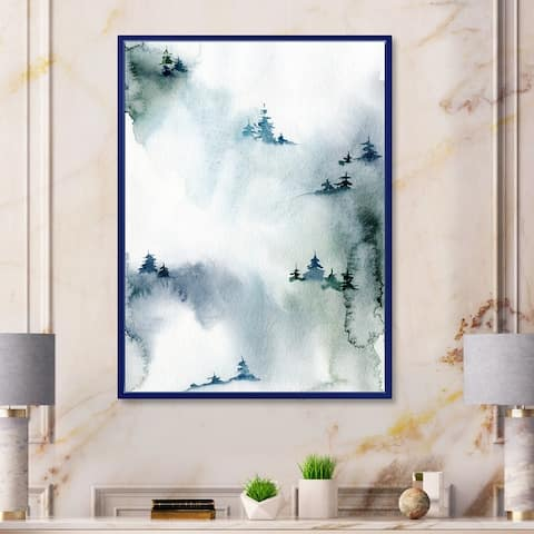 Designart 'Minimalistic Winter Forest With Snowy Fir Trees' Modern Framed Canvas Wall Art Print