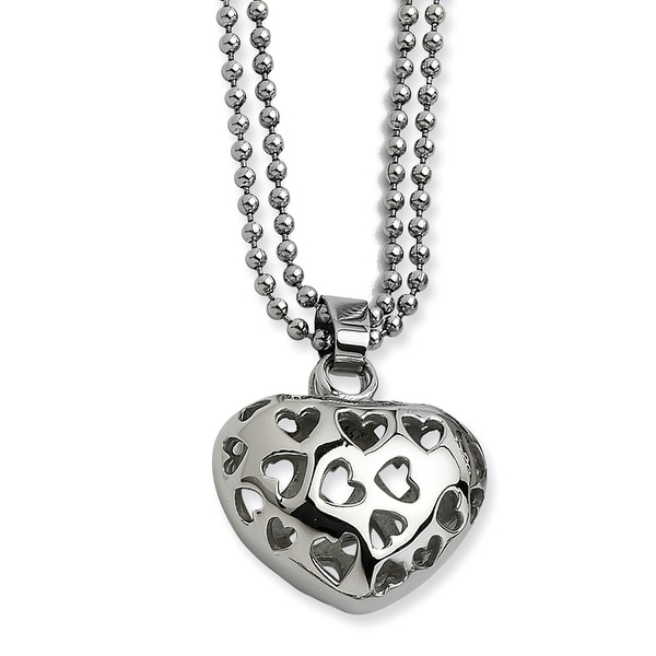 Chisel Stainless Steel Puffed Heart with Heart Cutouts 22 Inch Necklace (2 mm) - 22 in