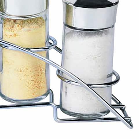 """Home Basics Chrome Spice Rack with 6 Empty Glass Spice Jars - Jar: 2.5oz. Rack: 5.75"""" x 13.5"""" x 2.6"""""""
