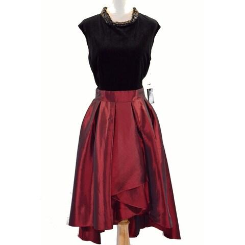 SL Fashions Velvet Taffeta Fit & Flare Dress, Black/Red, 10
