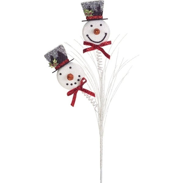 """Club Pack of 12 Decorative Frosted White Christmas Snowman Sprays 25""""H"""