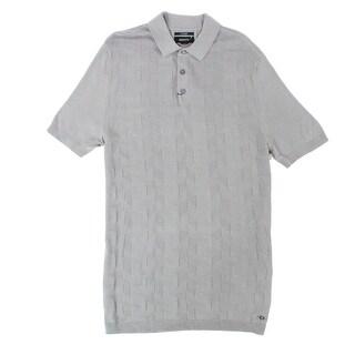 Alfani NEW Gray Mens Size Medium M Chevron Silk Blend Knit Polo Shirt