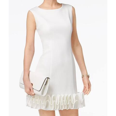 3b0dc868648 Donna Ricco Bright White Womens Size 10 Ruffle Hem Sheath Dress