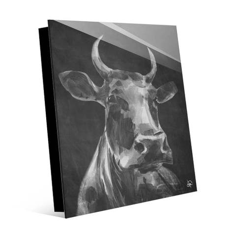 Kathy Ireland Audelia the Cow in Black & White on Acrylic Wall Art Print
