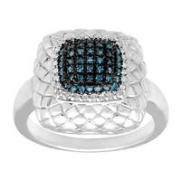 1/4 ct Blue and White Diamond Cushion Ring in Sterling Silver