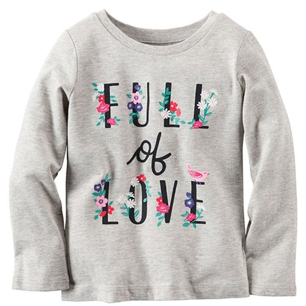 Carters Girls 12-24 Months Long-Sleeve Full of Love Tee - grey