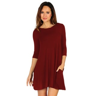 Women's Casual T-shirt Loose Dress with Pocket (Size: Small - 3X)
