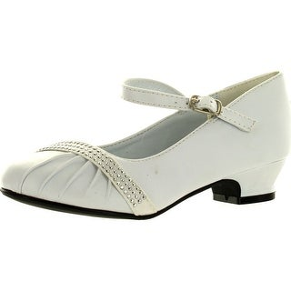 Lasonia Girls Mary Jane Shoes With Pretty Satin Rolled Rosettes Patent Leather - wht-wet