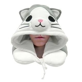 Cat Hooded Neck Pillow - Travel Pillow For Airplane & Car Travel - 11""