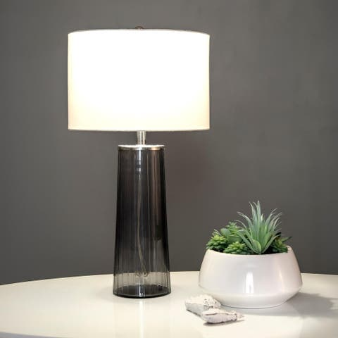 Porch & Den Bonanza Pleated Glass 22-inch Vase Table Lamp with Cotton Shade